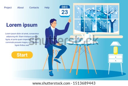 Vector Landing Page Template for Trendy Online Project. Copy Space for Your Text. Young Man, Sitting by Tea Table with White Cup and Pot, Pointing at Date December, 23. Winter City Outside Big Window.