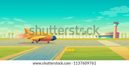 vector landing strip with plane
