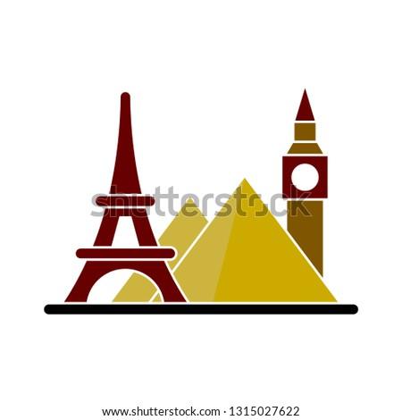vector landmark - travel landmark isolated, world travel illustration - Vector paris eiffel landmark