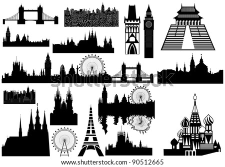 vector landmarks - London, Prague, Paris, Russia