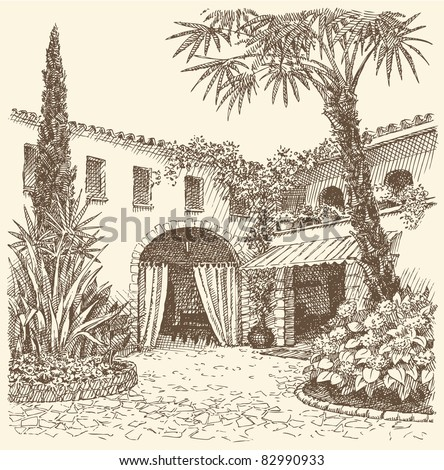 Vector landscape. A sketch of the eastern courtyard with flower beds, cypress and palm trees