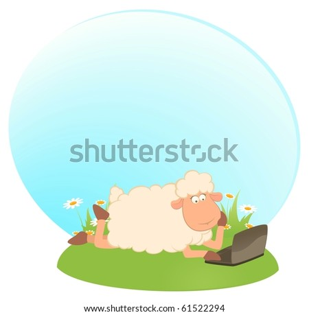 Vector landscape background with cartoon sheep and laptop