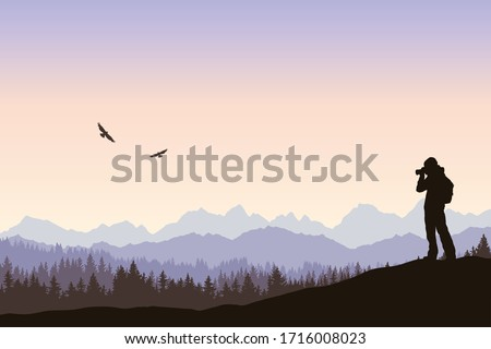 Vector landscape, birdwatching at sunrise, silhouette of a lonely traveler taking picture of flying birds. Outdoor hiking, backpacking, explore and discover. Nature photographer, mountains and forest