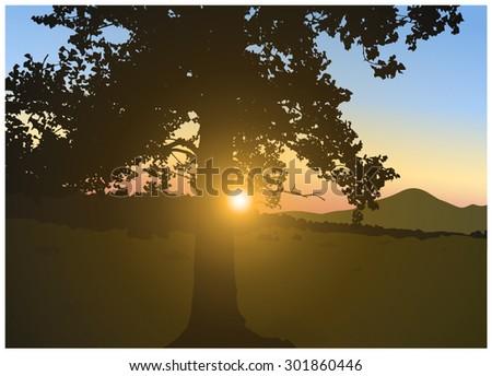 vector landscape brightly sun