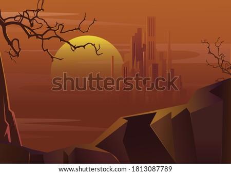 vector landscape desert city