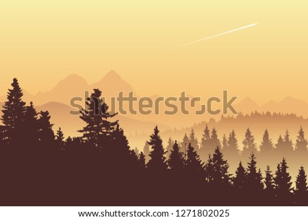 vector landscape  early morning
