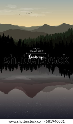 Vector landscape illustration of day and night with mirror effect with hills, dark forests and beautiful sky