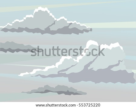 Vector landscape. Large fluffy clouds. Dark sky. Overcast sky.