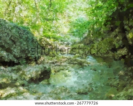 vector landscape mountain river
