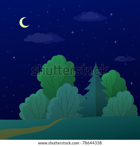 Vector, landscape: night summer forest with green trees and the sky with moon and stars