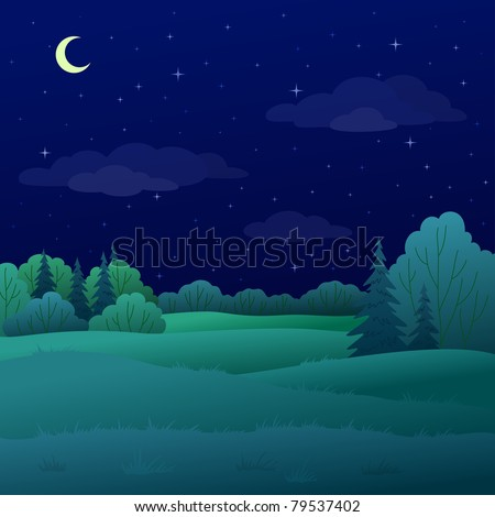 Vector, landscape: night summer forest with green trees and the sky with moon and stars - stock vector