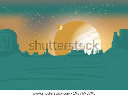 vector landscape of an alien