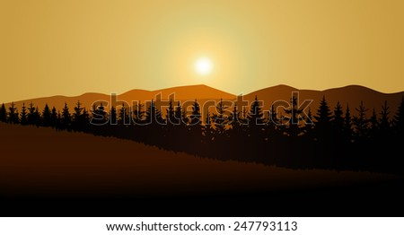 vector landscape of golden