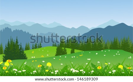 Vector landscape of mountains and meadow flowers