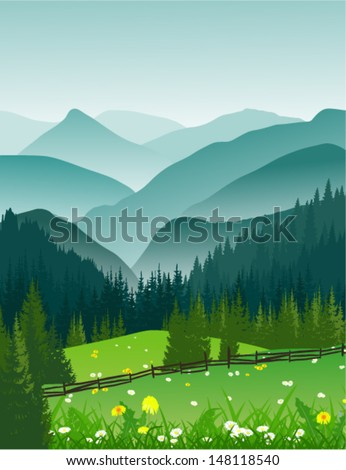 vector landscape of mountains