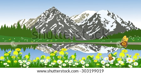 Vector landscape of mountains and meadow flowers at shore of the lake. Alpine valley.