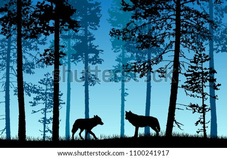 vector landscape of two wolves