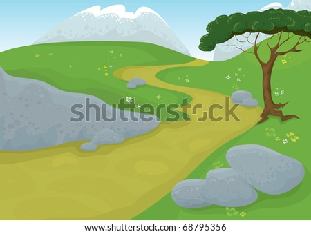 Vector landscape. Path through the meadow with mountains in the back.