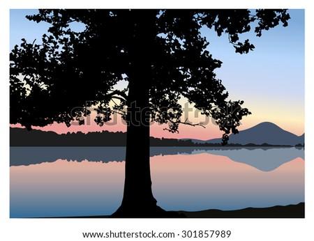 vector landscape silhouette of