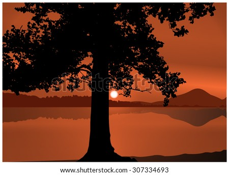 vector landscape silhouette of