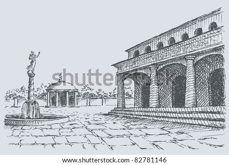 Vector landscape. Sketch of the old town square with buildings of temple and fountain