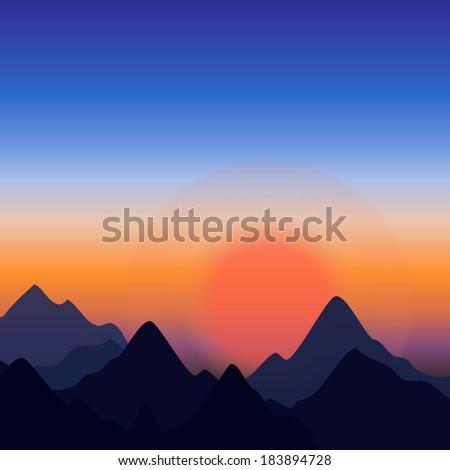 vector landscape  sunset at