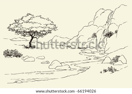 Vector landscape  Tree near a mountain stream in the meadowMountain Landscape Outline