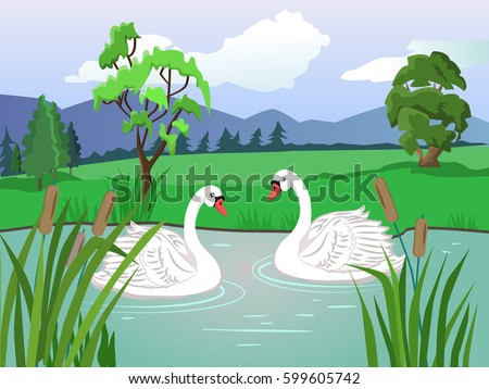 vector landscape two white