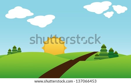 Vector Landscape Wallpaper With Blue Sky And Sun Road