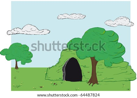 vector landscape with a cave as