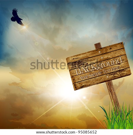 vector landscape with a flying