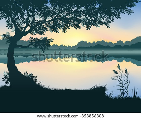 vector landscape with a lake at