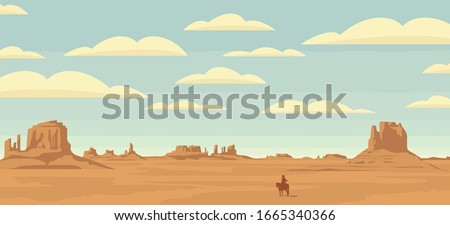 Vector landscape with a lone rider in the desert. American prairies and the silhouette of a cowboy on a horse. Decorative illustration on the theme of the Wild West. Western vintage background ストックフォト ©