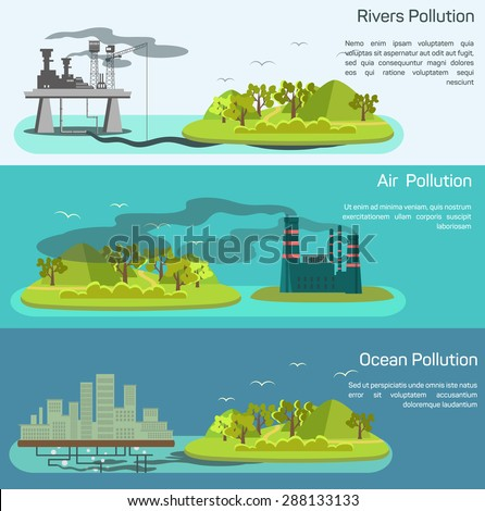 Vector landscape with air, ocean pollution. Island polluted from plants