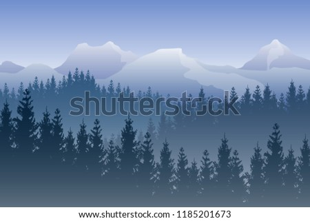 vector landscape with blue