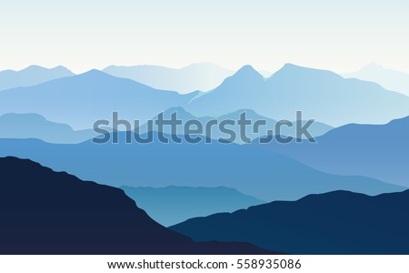Vector landscape with blue misty silhouettes of mountains