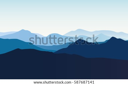 Vector landscape with blue silhouettes of hills and mountains