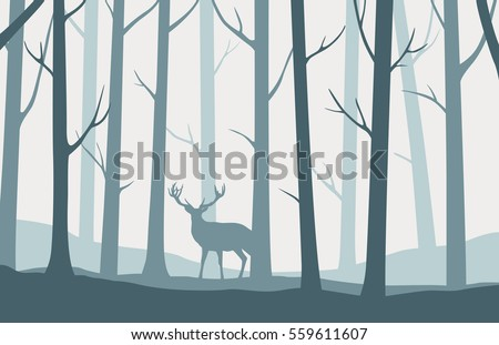 Vector landscape with blue silhouettes of trees in the forest and deer
