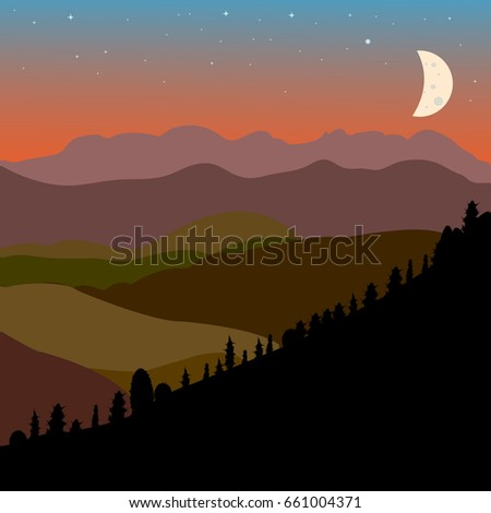 Vector landscape with brown, green and black  mountain hills silhouette and moon