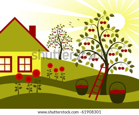 vector landscape with cherry trees, flower and cottage