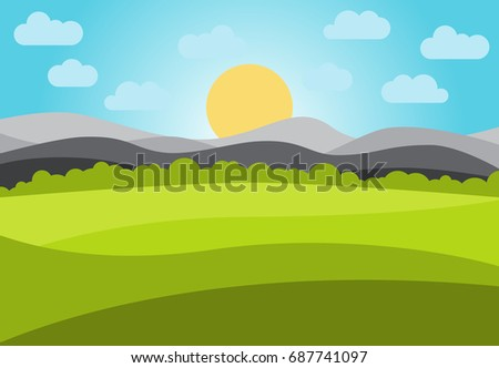 vector landscape with field and