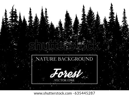 vector landscape with fir trees ...