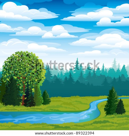 vector landscape with green