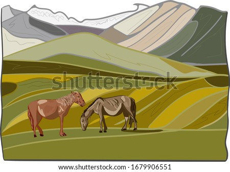 vector landscape with horse in