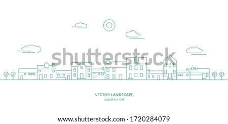 vector landscape with houses