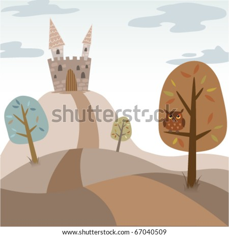 vector landscape with medieval