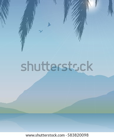 vector landscape with mountain