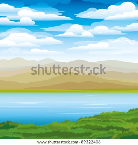 vector landscape with mountains