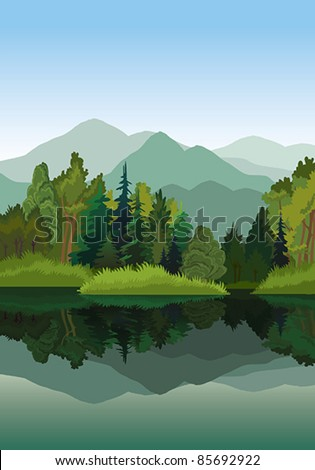 Vector landscape with mountains, green trees and blue lake on a sky background - stock vector