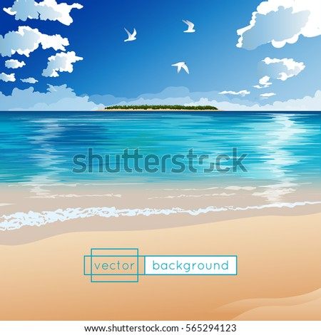 vector landscape with ocean